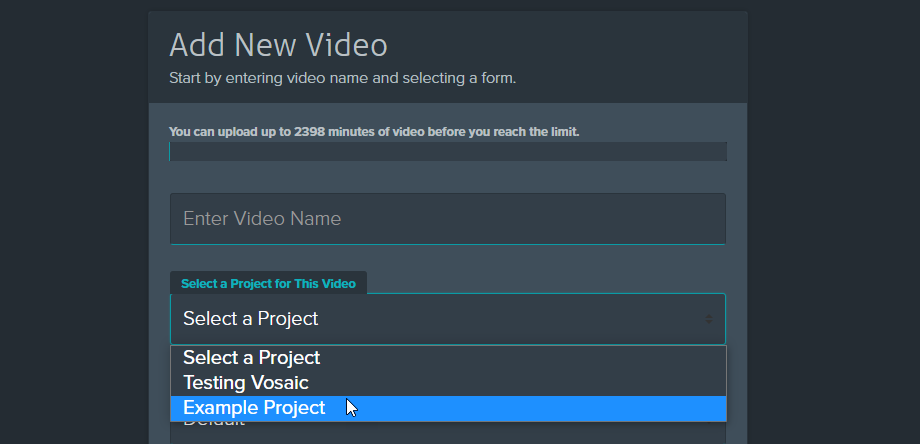Select project when adding a video