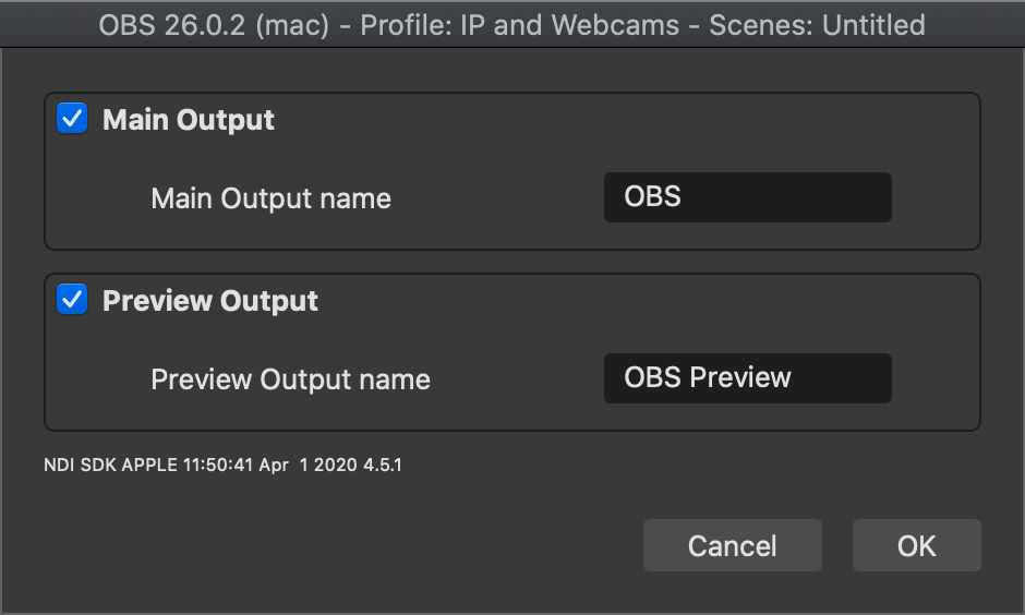 OBS NDI Output Settings Modal on a Mac