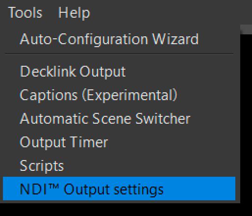 NDI Output settings: Windows