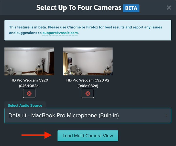 Load multi-camera preview
