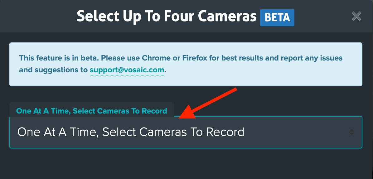 Multi-camera selection dialog