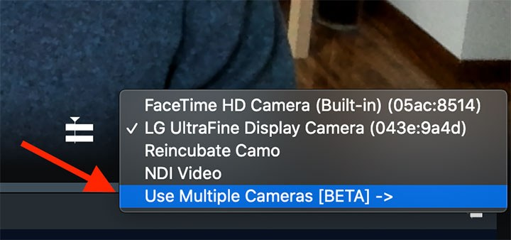 Select Use Multiple Cameras from the Dropdown